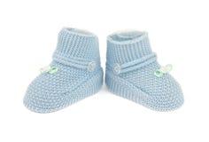 Sapatas de bebê azul Fotografia de Stock