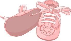 Sapatas de bebê cor-de-rosa ilustração do vetor