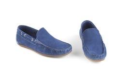 Sapatas de couro da cor azul Fotografia de Stock