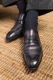Sapatas de couro italianas feitos a mão do brogue dos homens luxuosos Foto de Stock