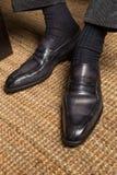 Sapatas de couro italianas feitos a mão do brogue dos homens luxuosos Imagem de Stock