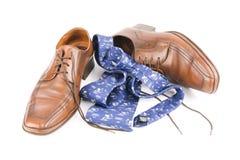 Sapatas de couro luxuosas de homens de negócio Foto de Stock Royalty Free
