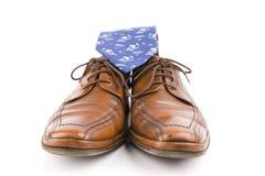 Sapatas de couro luxuosas de homens de negócio Fotografia de Stock