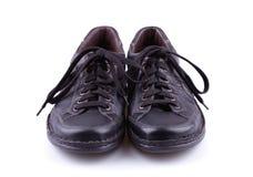 Sapatas de couro pretas dos homens Imagens de Stock Royalty Free