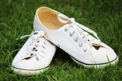 Sapatas de lona brancas Imagens de Stock