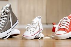 Sapatas de lona das sapatilhas dos pais e da crian?a no assoalho de madeira em casa em esperar uma fam?lia feliz do beb? imagem de stock
