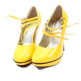 Sapatas de mulheres amarelas Imagens de Stock Royalty Free