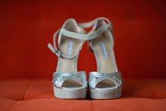 Sapatas de prata das mulheres Imagens de Stock Royalty Free
