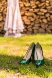 Sapatas do casamento da noiva Foto de Stock