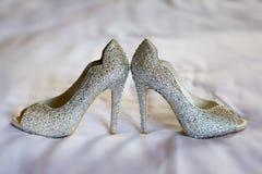 Sapatas do casamento de Diamante Foto de Stock Royalty Free
