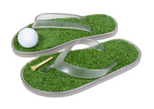 Sapatas do golfe com grama Fotografia de Stock Royalty Free