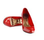 Sapatas do vermelho da senhora Fotos de Stock Royalty Free