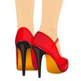 Sapatas do vermelho dos pés da ilustração do vetor Fotos de Stock Royalty Free