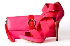 Sapatas e bolsa cor-de-rosa Imagem de Stock