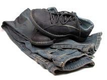 Sapatas e calças de brim Imagens de Stock Royalty Free