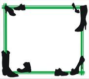 Sapatas e frame verde Imagens de Stock Royalty Free