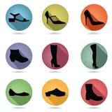 Sapatas e grupo do ícone das botas Coleção do botão dos accossories da forma Imagens de Stock