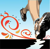 Sapatas e pés do basculador Fotografia de Stock Royalty Free