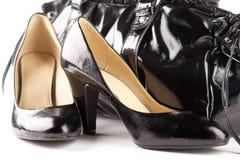Sapatas e saco pretos Imagens de Stock Royalty Free