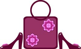 Sapatas elegantes e bolsa das mulheres a combinar Imagens de Stock