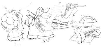 Sapatas engraçadas ilustração royalty free