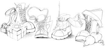 Sapatas engraçadas ilustração do vetor