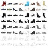 Sapatas, estilo, salto e outros tipos de sapatas As sapatas diferentes ajustaram ícones da coleção no estoque do símbolo do vetor Foto de Stock
