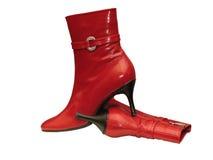 Sapatas fêmeas vermelhas Foto de Stock Royalty Free