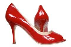 Sapatas fêmeas vermelhas Imagem de Stock