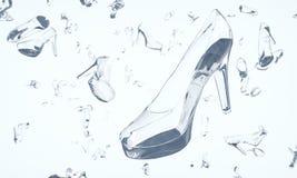 Sapatas feitas do vidro que flutua no espaço Fotografia de Stock