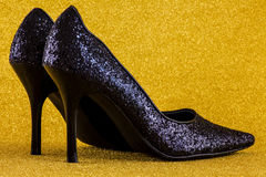 Sapatas Glittery Foto de Stock Royalty Free