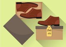 Sapatas masculinas modernas à moda na caixa, vista lateral Venda com um disconto de 50 por cento Calçados casuais do homem s Ilus Imagem de Stock