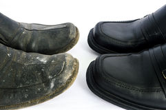Sapatas novas e usadas Imagem de Stock