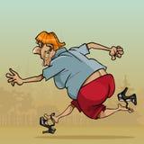 Sapatas perdedoras running muito rápidas engraçadas da mulher dos desenhos animados ilustração do vetor