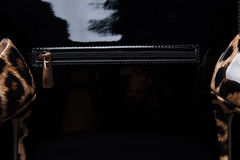 Sapatas pretas da bolsa e das mulheres, close-up Foto de Stock