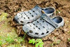 Sapatas pretas do jardim do estilo dos crocs imagens de stock royalty free