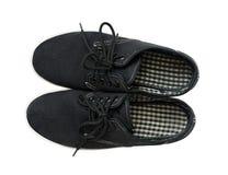 Sapatas pretas do verão de matéria têxtil foto de stock royalty free