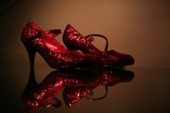 Sapatas Sparkly vermelhas Foto de Stock Royalty Free