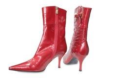 Sapatas vermelhas da mulher imagens de stock