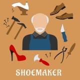 Sapateiro com sapatas e ferramentas, ícones lisos Imagem de Stock Royalty Free