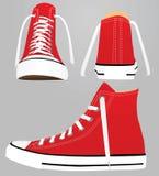 Sapatilha vermelha da lona ilustração stock