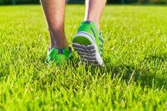 Sapatilhas das sapatas dos esportes em um campo de grama verde fresco imagens de stock