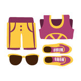 Sapatilhas, short e vidros de sol em cores roxas Ilustração colorida dos desenhos animados Imagens de Stock Royalty Free