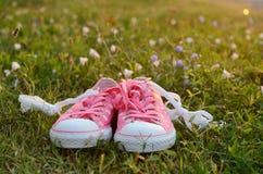 Sapatos de ginástica pontilhados na grama verde Fotografia de Stock