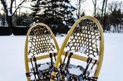 Sapatos de neve de madeira tradicionais na neve Fotografia de Stock