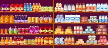 Sapdranken en zuivelfabriek bij winkelplanken of showcase royalty-vrije illustratie