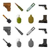 Saperski ostrze, granat ręczny, wojsko kolba, żołnierza but Wojskowego i wojska ustalone inkasowe ikony w kreskówce, monochromu s royalty ilustracja