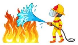 Sapeur-pompier éteignant un feu illustration libre de droits