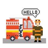 Sapeur-pompier avec la machine du feu dans l'art de pixel illustration stock