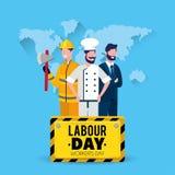 Sapeur-pompier avec le boulanger et homme d'affaires avec l'emblème de jour de travail illustration libre de droits